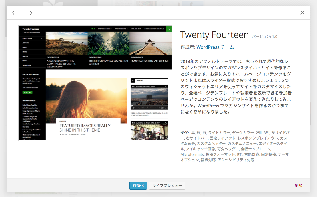 Twenty Fourteenテーマ